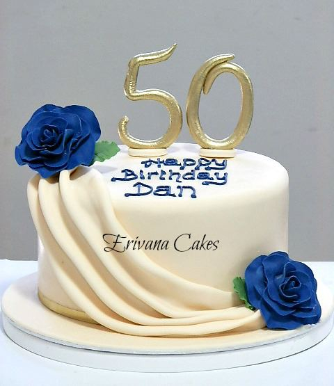 Ivory and Blue 50th Birthday cake